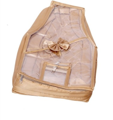 KUBER INDUSTRIES Designer Blouse Cover in Quilted Satin Fabric  Golden  MKU006656 Golden KUBER INDUSTRIES Garment Covers