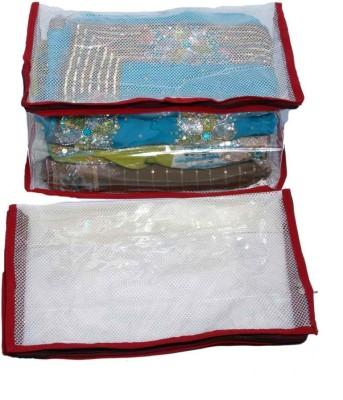 KUBER INDUSTRIES Designer Saree Cover 2 Pcs Combo In Full Transparent Net SC38 Maroon KUBER INDUSTRIES Garment Covers
