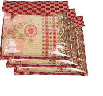 Glitter Collection Saree Organiser Saree Cover Cover002 Red Glitter Collection Garment Covers