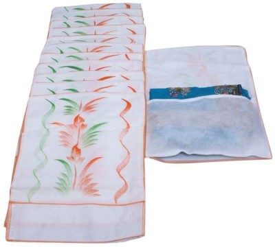 Kuber Industries Designer Saree Cover Hanging 12 Pcs Combo In Non Wooven Material MKU0050067 White