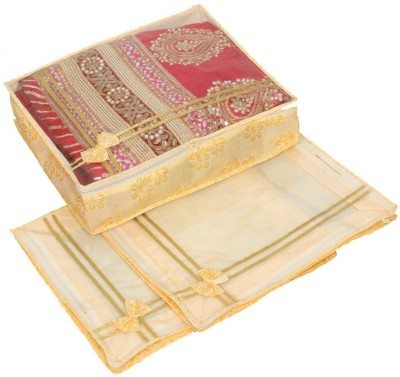 KUBER INDUSTRIES Designer Non Woven Bow Saree Cover/ Lahenga Cover Set Of 3 Pcs  6 Inches Height  KUBS52 Yellow KUBER INDUSTRIES Garment Covers