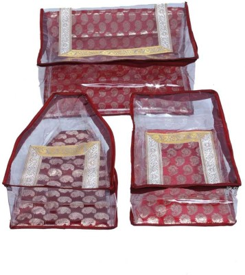 KUBER INDUSTRIES Designer Saree, Blouse   Peticot Cover In Red Designer Brocade 3 Pcs Set SC93 Maroon KUBER INDUSTRIES Garment Covers