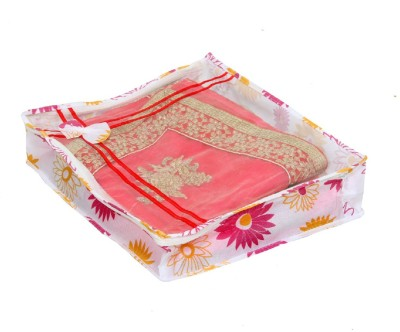 KUBER INDUSTRIES Designer Non Woven Bow Saree Cover Set Of 10 Pcs  4 Inch Height  KUBS0020 White KUBER INDUSTRIES Garment Covers