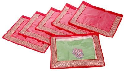 KUBER INDUSTRIES Designer Single Packing Saree Cover Set of 6 Pcs  Designer Lace  MKU006628 Red KUBER INDUSTRIES Garment Covers