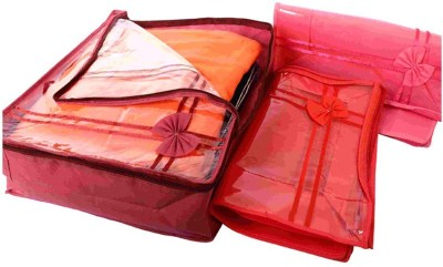 KUBER INDUSTRIES Designer Non Wooven saree cover 3 Pcs combo Mku216 Maroon, Pink KUBER INDUSTRIES Garment Covers