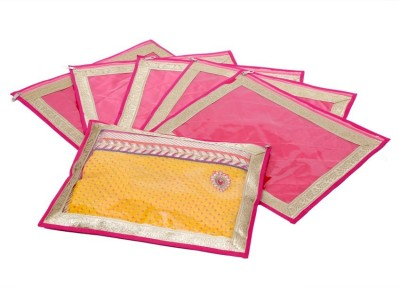 KUBER INDUSTRIES Designer Saree Cover in Heavy Quilted Satin Set of 6 Pcs MKU006636 Pink KUBER INDUSTRIES Garment Covers