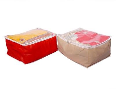 KUBER INDUSTRIES Designer Kuber IndustriesTransparent Non Woven Multi Saree Cover Set of 2 Pcs MKU00006678 Multicolor KUBER INDUSTRIES Garment Covers