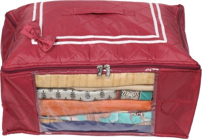 Glitter Collection Saree Bag Saree Organiser Satin01 Red Glitter Collection Garment Covers