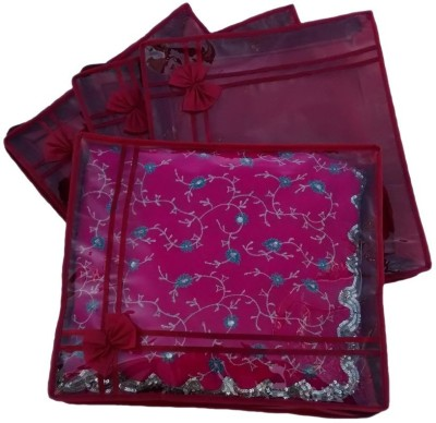 Ombags   More Handmade Set Of 4 Transparent Double Saree Cover ks018 Maroon Ombags   More Garment Covers