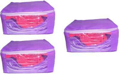Addyz Front Transparent Saree Cover Pack of 3 Purple Addyz Garment Covers