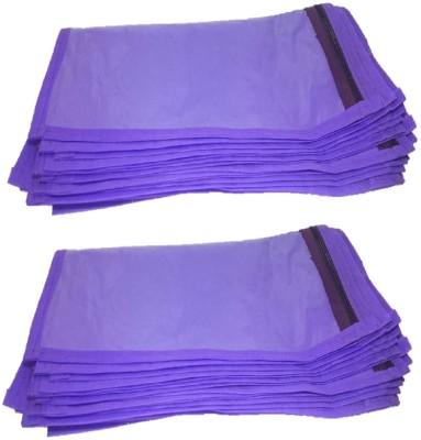 Addyz Plain 24 Pcs Saree Bedsheet Cover Bags Packaging Storage Cloth Clear Plastic Zip Purple Addyz Garment Covers