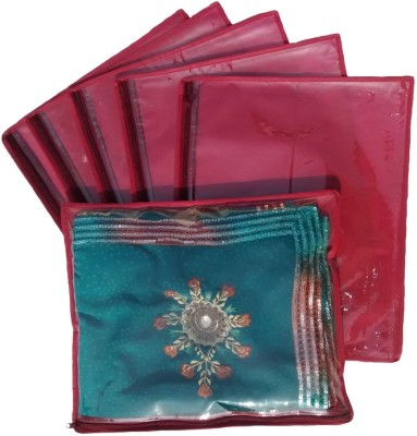 KUBER INDUSTRIES Designer Non Wooven Single Saree Cover 6 Pcs Set sc013 Maroon KUBER INDUSTRIES Garment Covers