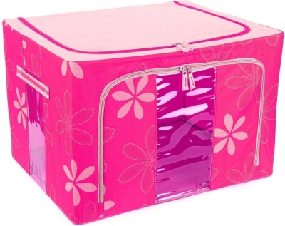 Kuber Industries Designer Saree Cover /Lehenga/Woolens Storage Box with Steel Frames - Flower SKU007606(Pink)  available at flipkart for Rs.1199