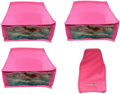 Addyz Plain Combo Of Ladies Large Non   Woven 3saree And 1blouse Cover. Upto 5   6SC and 9 10BC each Pink Addyz Garment Covers