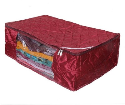 KUBER INDUSTRIES Saree Covers Full Length Satin AA8 Maroon KUBER INDUSTRIES Garment Covers