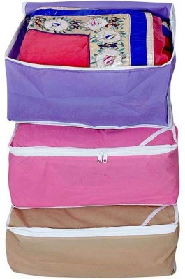 Ombags   More non wovan Saree Cover Combo Of 3 myshri01 Multicolor Ombags   More Garment Covers