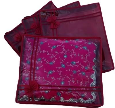 INDI BARGAIN Designer Maroon set of 4 transparent double saree cover Maroon INDI BARGAIN Garment Covers