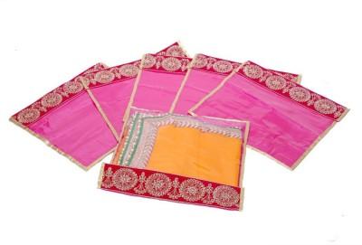 KUBER INDUSTRIES Designer Kuber Industries Single Packing Bandhani Saree Cover Set of 6 Pcs MKU00006634 Pink KUBER INDUSTRIES Garment Covers