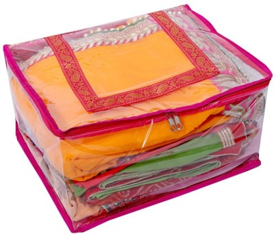 KUBER INDUSTRIES Designer Quilted Transparent Saree Cover  Extra Large Size  MKU006648 Pink KUBER INDUSTRIES Garment Covers