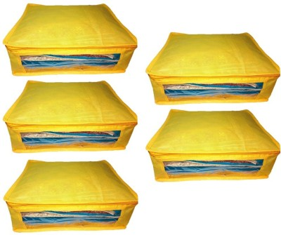Addyz Plain 5pcs ladies Large Non   woven Saree cover Upto 5   6 each Yellow Addyz Garment Covers