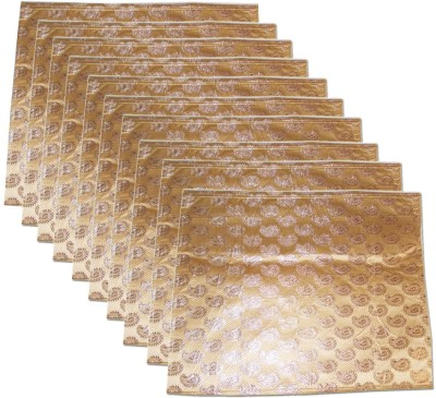 KUBER INDUSTRIES Designer Brocade Saree Cover Set of 10 Pcs sc009 Golden KUBER INDUSTRIES Garment Covers