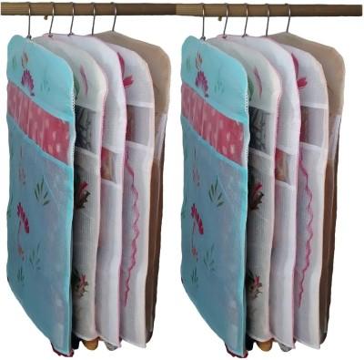Kuber Industries Designer Transparent Kota Doria Hanging Saree Cover   Set Of 10 Pcs sc044 Multicolor