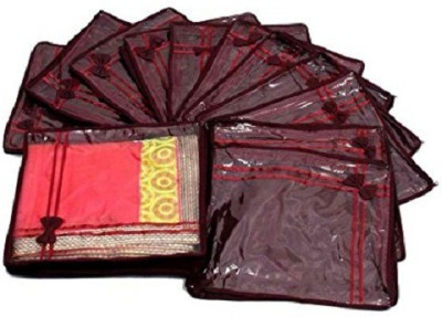 KUBER INDUSTRIES Designer Saree Cover Non Wooven Material 12 Pcs Set  Maroon  sc041 Maroon KUBER INDUSTRIES Garment Covers