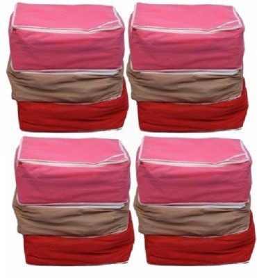 Kuber Industries Designer Designer Non woven Saree cover 12 pcs combo / Wardrobe Organiser/Regular Clothes Bag SC087 Multicolor