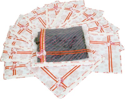 KUBER INDUSTRIES Designer Printed Non Wooven Saree Cover Set Of 12 Pcs  With Zip Lock  KUBS04 White KUBER INDUSTRIES Garment Covers