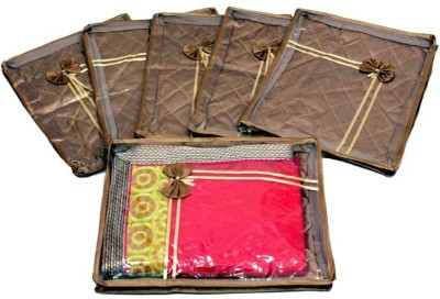 KUBER INDUSTRIES Designer Saree Cover Quilted Satin 6 Pcs Set MKUSC143 Gold KUBER INDUSTRIES Garment Covers