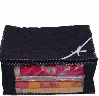 KUBER INDUSTRIES Designer Saree Cover With Capacity of 15 Sarees MKU041 Black KUBER INDUSTRIES Garment Covers