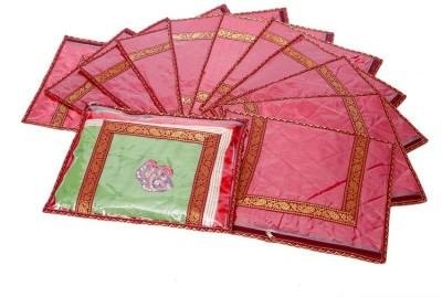 KUBER INDUSTRIES Designer Kuber Industries Saree Cover in heavy Quilted Satin Set of 12 Pcs MKU00006623 Maroon KUBER INDUSTRIES Garment Covers