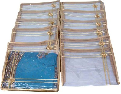 KUBER INDUSTRIES Designer Saree Cover in Heavy Plastic 12 Pcs SC29 Gold KUBER INDUSTRIES Garment Covers