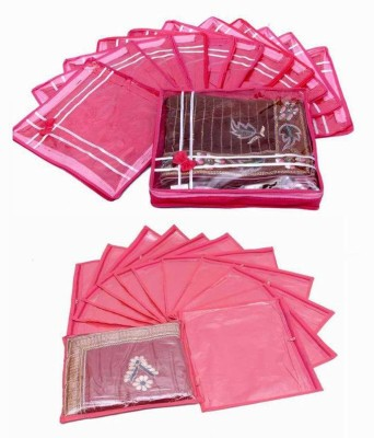 KUBER INDUSTRIES Designer Special Combo, 12 Pcs Of Single Saree Cover, 12 Pcs Of Bow MKUM114 Pink KUBER INDUSTRIES Garment Covers