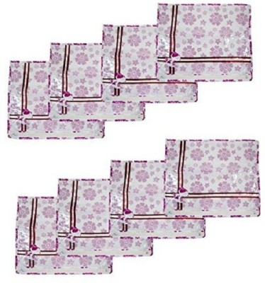 KUBER INDUSTRIES Designer Printed Non Wooven Saree Cover Set of 8 Pcs  White  sc027 White KUBER INDUSTRIES Garment Covers