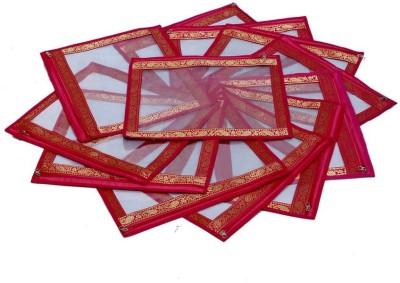 KUBER INDUSTRIES Designer Full Transparent Brocade MKU5003 Red KUBER INDUSTRIES Garment Covers