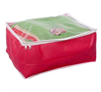 KUBER INDUSTRIES Designer Transparent Non Woven Multi Saree Cover  10 15 Sarees Capacity  MKU006707 Red KUBER INDUSTRIES Garment Covers