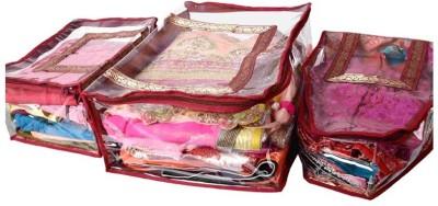 KUBER INDUSTRIES Saree Covers 3 Pcs Combo In Fancy Brocade MKU172 Maroon KUBER INDUSTRIES Garment Covers