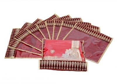 KUBER INDUSTRIES Designer Flip Saree cover with Lace set of 10 Pcs MKU006630 Maroon KUBER INDUSTRIES Garment Covers