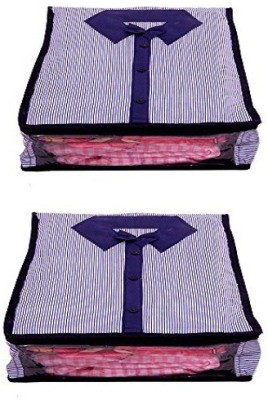 KUBER INDUSTRIES Designer Shirt Cover Set of 2 Pcs in Heavy Quilted Material MKU0015518 Blue KUBER INDUSTRIES Garment Covers