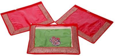 KUBER INDUSTRIES Designer Single Packing Saree Cover Set of 3 Pcs  Designer Lace  MKU006626 Red KUBER INDUSTRIES Garment Covers