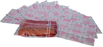 KUBER INDUSTRIES Designer Printed Non Wooven Saree Cover Set of 12 Pcs  Pink  MKU006687 Pink KUBER INDUSTRIES Garment Covers