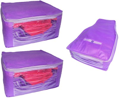 Addyz Plain Set of Ladies Large Non  Woven 2 Saree   1 Blouse Cover Purple Addyz Garment Covers