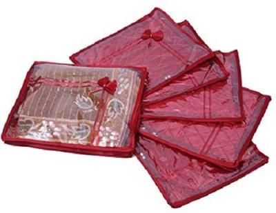 KUBER INDUSTRIES Designer Saree cover 6 Pcs combo in maroon satin sc020 Maroon KUBER INDUSTRIES Garment Covers