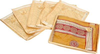 KUBER INDUSTRIES Designer Saree cover 6 Pcs combo in Golden satin ,Wedding Collection Gift KUBS78 Gold KUBER INDUSTRIES Garment Covers