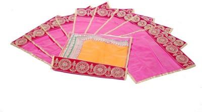 KUBER INDUSTRIES Designer Flip Saree cover with Designer Lace set of 10 Pcs MKU006635 Pink KUBER INDUSTRIES Garment Covers