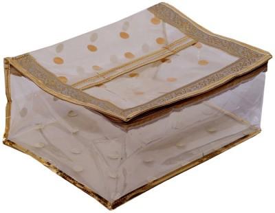 KUBER INDUSTRIES Designer Polka Dots Transparent Saree Cover  Golden  MKU006690 Golden KUBER INDUSTRIES Garment Covers