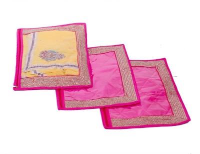 KUBER INDUSTRIES Designer Single Packing Saree Cover Set of 3 Pcs  Designer Lace  MKU006632 Pink KUBER INDUSTRIES Garment Covers