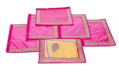 KUBER INDUSTRIES Designer Single Packing Saree Cover Set of 6 Pcs  Designer Lace  MKU006633 Pink KUBER INDUSTRIES Garment Covers
