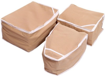 KUBER INDUSTRIES Designer Kuber Industries Saree Cover, Blouse Cover, Peticot Cover Set of 3 Pcs  Non Woven  MKU00006693 Beige KUBER INDUSTRIES Garmen